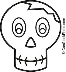 Coloring book - skull with cracked head isolated on white