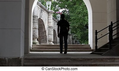 rear view of man with backpack - Unknown man with a backpack...