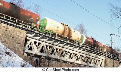 Freight train with petroleum tank