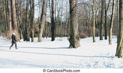 Nordic walking - Nordic Walking in the winter woods