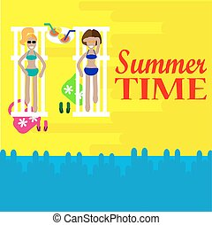 Two women sunbathing on a beach in a lounge chair. Vector summer time.