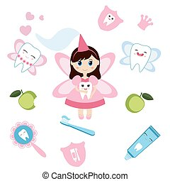 Tooth fairy - Little cute tooth fairy. Cartoon character.