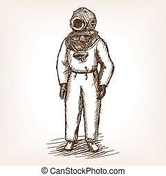 Vintage diver man with diving dress sketch vector