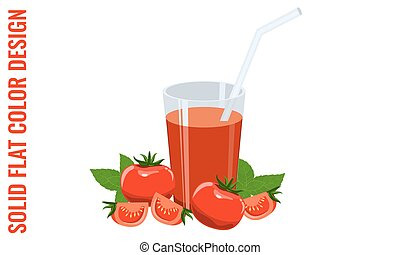 Glass of tomato juice, tomatoes and basil. Vector flat colors