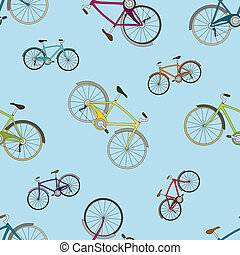 Vector seamless pattern with bicycles on blue background -...