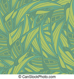Seamless pattern with green abstract tropical leaves in vector