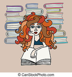 Hand drawn beautiful red-haired girl reading books on...