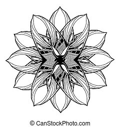 Round mandala element for coloring book in vector Black and...