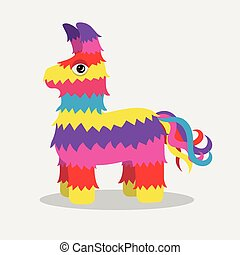 Vector bright striped colorful pinata isolated on white...