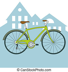 Vector green bicycle isolated on background with city view