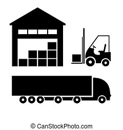 Vector black logistic, shipping and storage icon set...