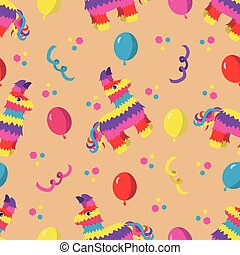 Birthday party seamless pattern with colorful pinata,...