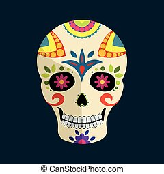 Day of The Dead mexican colorful sugar skull with floral...