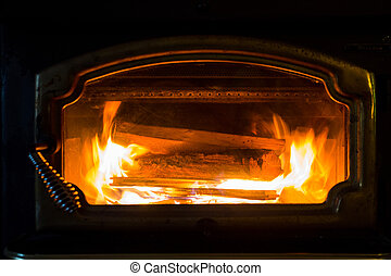 Fireplace Burning Wood
