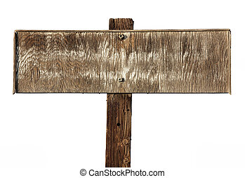 old faded wooden sign isolated on white