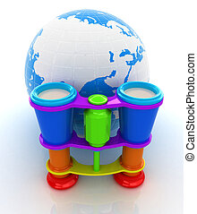 Worldwide search concept with Earth