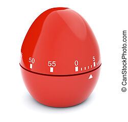 concept of deadline - closeup view of a red egg-timer on...
