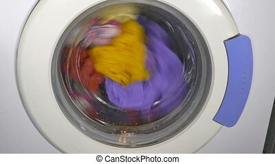 Washing machine turning - front view - Washing machine...
