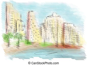Tel Aviv. abstract city on multicolor background