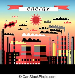 Plant and thermal power plant - Graphic image plant and...