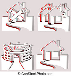 set of 4 building vectors including a stadium and houses