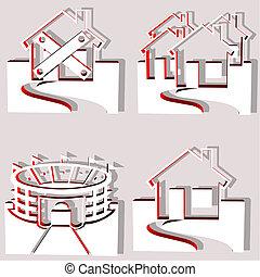 set of 4 building vectors