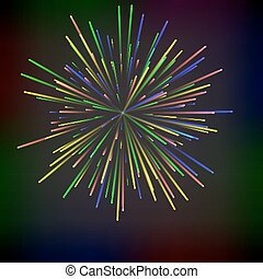 Colorful abstract festive fireworks over black background.