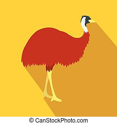 Emu icon, flat style - Emu icon in flat style on a yellow...