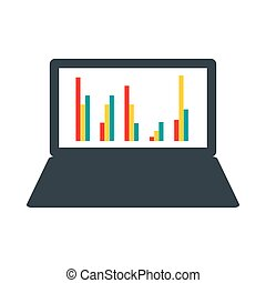 Laptop with business graph icon, flat style