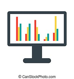 Computer screen with business graph icon