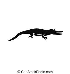 ícone, Crocodilo, estilo, simples