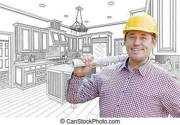 Contractor in Hard Hat Over Custom Kitchen Drawing