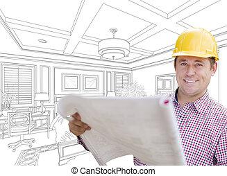 Contractor in Hard Hat Over Custom Bedroom Drawing