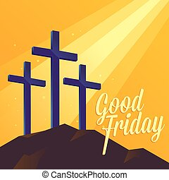Good Friday Religious Background With Three Cross - Good...