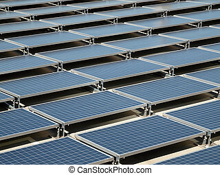 Solar Panel Roof - Shiny, new solar panels on a concrete...