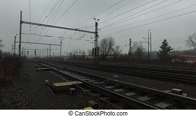 Railway lines during rainy day. Using of DJI Osmo.