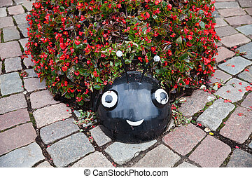 Ladybug flower bed on tha Streets of Kaunas old town -...