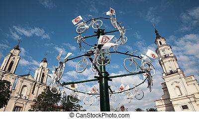 Streets of Kaunas old town - KAUNAS, LITHUANIAN - Jul, 12,...