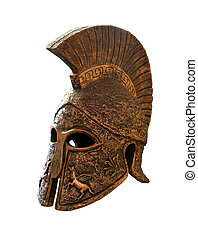Greek helmet isolated on a white background