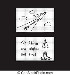 paper plane business card - freehand paper plane business...