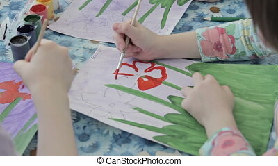 Children drawing in kindergarten