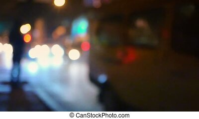 Traffic City Night Slow Motion Defocused Video Sait...