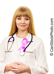 Woman doctor with pink ribbon aids symbol - Woman doctor...