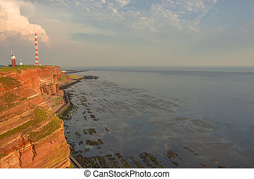 Beautiful sunset at Helgoland, German paradise islands in...