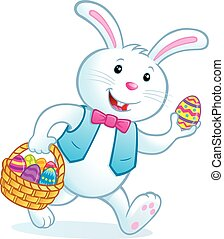 Bunny Carrying Easter Basket - Cartoon illustration of a...