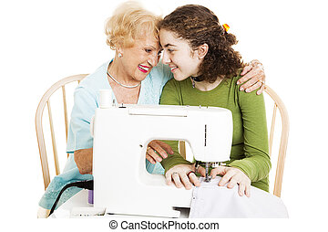 Quality Time with Grandma - Grandmother teaches her teen...