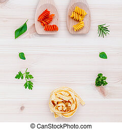 Italian food concept pasta with vegetables olive oil with...