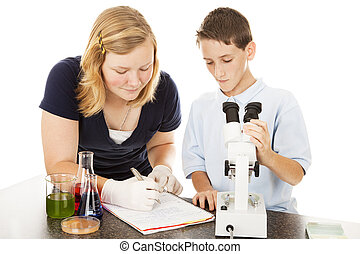 Young Scientists in Lab - Two school children learning about...
