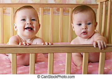 Baby Girls in Crib - Triplets - Little Baby Girls in crib...