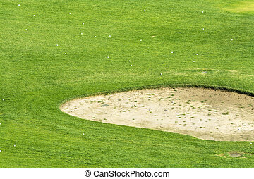 Golf course sand pit - Close up of a golf course sand trap...